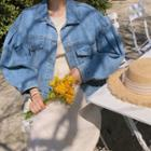Balloon-sleeve Denim Jacket Blue - One Size
