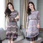 Long-sleeve Mesh-panel Printed Dress