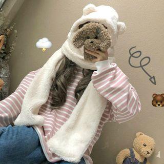 Bear Ear Accent Furry Hooded Scarf