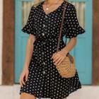 Short-sleeve Dotted Chiffon Buttoned A-line Mini Dress