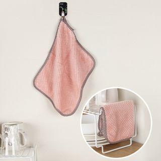 Set Of 3: Coral Fleece Dish Cloth 3 Pcs - Three Colors - One Size