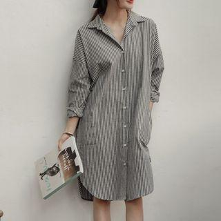 Long-sleeve Striped Shirtdress As Shown In Figure - One Size