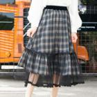 Ruffle Mesh Panel Plaid Maxi Skirt