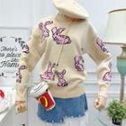 Rabbit-print Knit Sweater