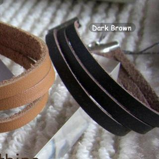 Modern Dark Borwn Leather Bracelet