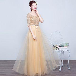 Elbow-sleeve Lace Panel A-line Evening Gown