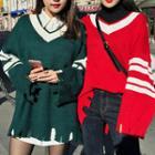 V-neck Distressed Contrast-trim Sweater
