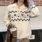 Curve Striped Polo Sweater