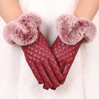 Faux Fur Faux Leather Gloves