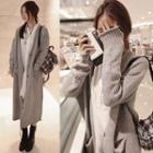 Open Front Long Cardigan Light Gray - One Size