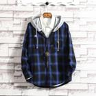 Hooded Long-sleeve Plaid Shirt