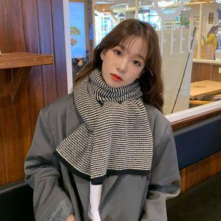 Striped Knit Shawl Black - One Size
