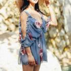 Set: Frilled Elbow-sleeve Coverup + Printed Bikini