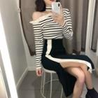 Striped Cut Out Knit Top / Contrast Trim Slit Midi Skirt