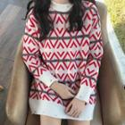 Mock-neck Patterned Long Sweater