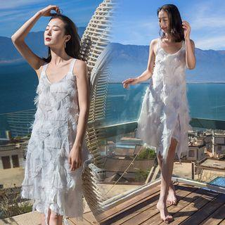 Sleeveless Feather A-line Dress