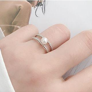Faux Pearl 925 Sterling Silver Layered Open Ring Silver - One Size