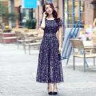 Short Sleeve Chiffon Maxi Dress