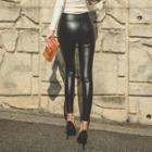 Zipped Faux-leather Brushed-fleece Leggings Pants
