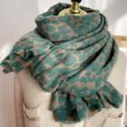 Leopard Print Knit Scarf Leopard - Avocado Green - One Size