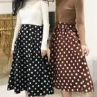 Dotted Midi A-line Skirt