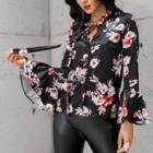 Floral Print Lace-up Blouse