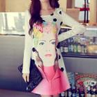 Long-sleeve Printed Rosette Dress