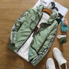 Lettering-trim Zip Hooded Jacket