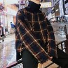 High Neck Plaid Pullover