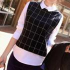 Mock Two-piece Check Blouse