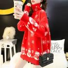 Long-sleeve Mock Neck Cartoon Embroidered Sweater