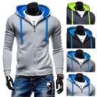 Zipped Two Tone Hooded Top