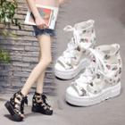 Floral Platform Hidden Wedge Sandals