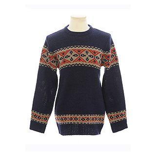 Pattern-trim Wool Blend Sweater