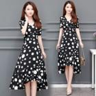 Dotted Short-sleeve Midi A-line Chiffon Dress