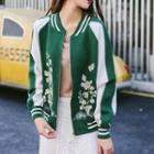 Flower Embroidered Color Panel Zip Cardigan