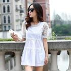 Lace-sleeve Beaded Top