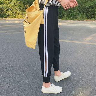 Contrast Trim Cropped Harem Pants Black - One Size