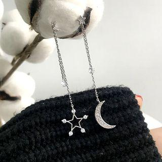 925 Sterling Silver Rhinestone Moon & Star Dangle Earring 1 Pair - 925 Sterling Silver - Silver - One Size