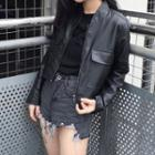 Faux-leather Cropped Jacket
