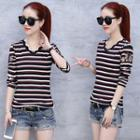 Long-sleeve Stripe Scalloped-neck T-shirt