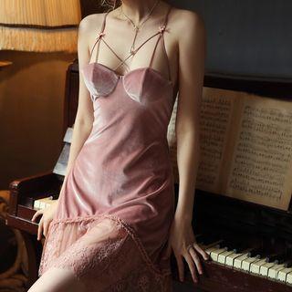 Lace Trim Velvet Night Dress