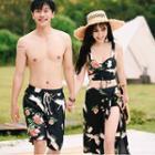 Couple Matching Floral Drawstring Swim Top / Bikini Bottom / Cover-up Midi Skirt / Swim Shorts