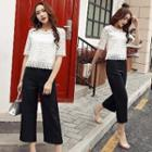 Set: Elbow-sleeve Lace Top + Cropped Pants