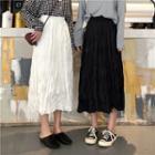 Crinkled Midi A-line Skirt