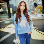 Beaded Rosette Sweater