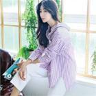Drop-collar Stripe Shirt Purple - One Size