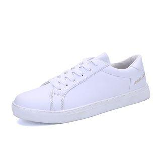 Faux Leather Lace Up Sneakers