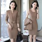Plain Sleeveless Sheath Dress / Bow Accent Blazer / Dress Pants / Set