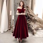 Off-shoulder Bow Accent Velvet A-line Evening Gown
